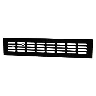 Lüftungsgitter Tür-Gitter schwarz Abluftgitter Aluminium | Belüftungsgitter eckig | 400 x 60 mm | Möbel-Gitter Alu für Heizung - Wand uvm. | MADE IN GERMANY | 1 Stück - Lüftungsblech mit Schrauben