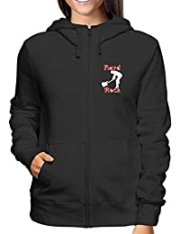de61f525a724 Sweatshirt a Capuche Zip Femme Noir T0205 Hard Rock Fun Cool Geek