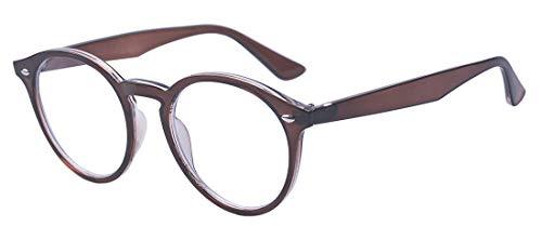 Outray Vintage Runde nicht verschreibungspflichtige klare Gläser, optische Brillenfassung für Damen und Herren Gr. 85, braun