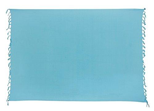 Sarong ca. 170cm x 110cm Einfarbig Unifarben Handgefertigt inkl. Sarongschnalle im Raute Design - Alle Farben zur Auswahl - Pareo Dhoti Lunghi Hell Blau
