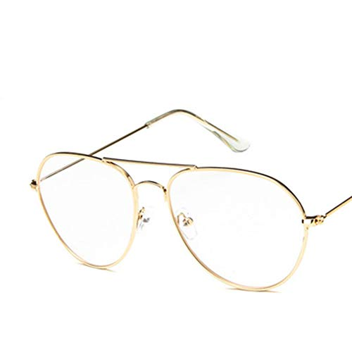 Vikenner Retro Flacher Spiegel Brille Damen Herren Sonnenbrille Dekorative Brille ohne Stärke Brille Lichtschutzbrille Arbeitsplatzbrille BrilleGold