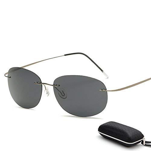 FERFERFERWON Unisex-Sonnenbrillen, Mit Etui Polarized Titanium Silhouette Sonnenbrillen Polaroid Gafas Herren Sonnenbrillen für Männer (Farbe : ZP3225 with case C6)