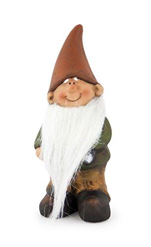 Impressionata Deko Figur Zwerg Wichtel mit Langem Bart aus Ton Braun Grün, 15 cm, Gartenfigur Gartenzwerg Wichtelfigur für Garten