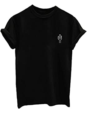 BLACKMYTH Moda Mujer Verano Redondo Manga Corta T-Shirt Letter Suelto Tee Casual Hipster Tops