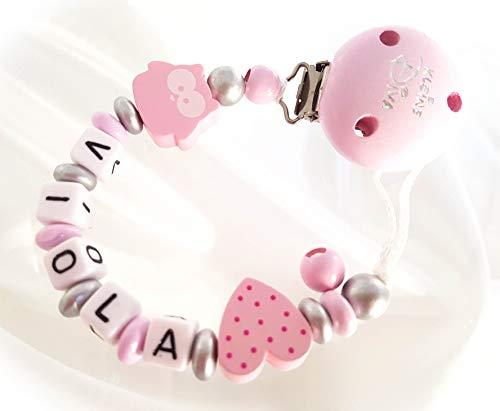 Schnullerkette mit Namen, Eule, Blume, Mädchen, rosa, kleine Diva, Herz, Taufe