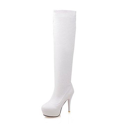 AgooLar Damen Pu Leder Stiletto Rein Hoch-Spitze Reißverschluss Stiefel Weiß