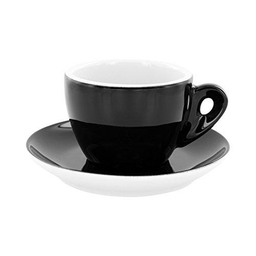 Cappuccinotassen extra dickwandig »Latteccino Nero«, schwarz/weiß aus Porzellan, 6 Stück