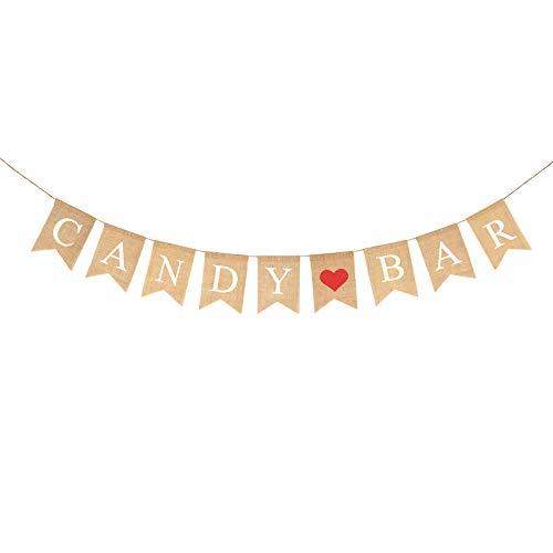 KAKOO Candy Bar Banner, Vintage Candybar Girlande Rustikal Säckleinen Wimpelkette mit rot Herz Wimpel für Hochzeit Kindergeburtstag Party Deko Photo Props