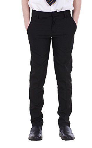Boys ex BHS Slim Fit Skinny Grey Adjustable Waist Black School Trousers