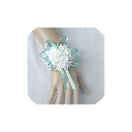 Tiamo Violet Foam Rose HandgelenkCorsage Armband Blumen Cuff Bracelets Bridesmaid Weiße Hochzeit Zubehör, Blau (Handgelenk Corsage Diy)