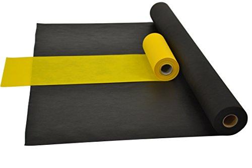 Fachhandel für Vliesstoffe Sensalux Kombi-Set 1 Tischdeckenrolle 1m x 25m + Tischläufer 30cm (Farbe nach Wahl) Rolle schwarz Tischläufer gelb