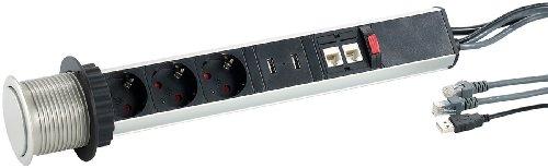 revolt Versenkbare Tisch-3-fach-Steckdosenleiste m. je 2x USB & RJ45, Ø 60 mm