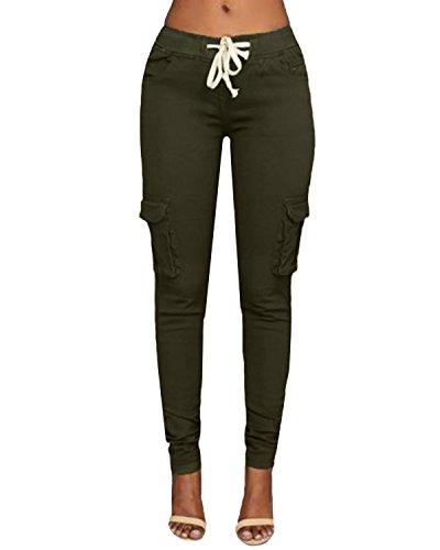 StyleDome Donna Pantaloni Lunghi Eleganti Moda Cotone Coulisse Tasche Casual Ufficio Verde M