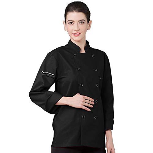 (yimosecoxiang Kochmantel Unisex Langarm Stehkragen Kochshirt Top Restaurant Hotel Küche Kostüm xxl Schwarz)