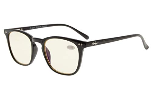 Eyekepper Qualität Spring-Scharniere Quadrat Schlüssel Loch Stil Computer Lesebrillen Computer Brillen Brillen Lesungen (schwarz, gelb getönt Linsen) +1.0