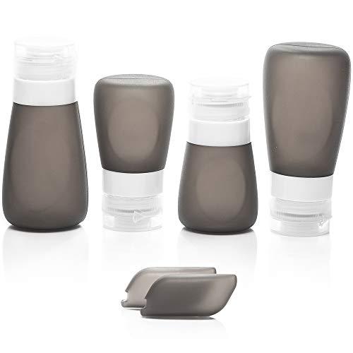 Silikon Reiseflaschen-Set für Flüssigkeiten - TSA-genehmigt, auslaufsicher, leere Tuben in Reisegröße im transparenten Kulturbeutel. Transportieren Sie ihr(e) Lieblings-Shampoo & Lotion im Handgepäck -