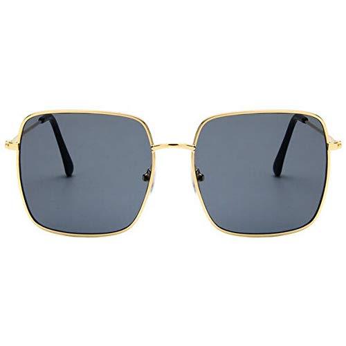 NECCT Die neuesten quadratischen Retro Sonnenbrille weibliche Modelle extra große größe Sonnenbrille männer Frauen Schatten Gold grau,A2