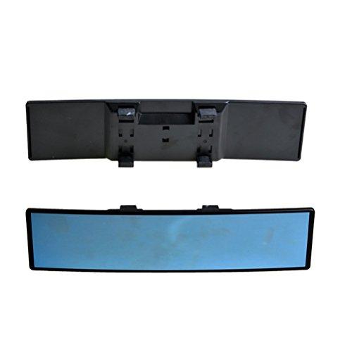 Vosarea Auto Rückspiegel Weitwinkel Blau Glas Panorama Blendschutz Innenspiegel Large Vision 280mm Gebogener Spiegel (Schwarz)