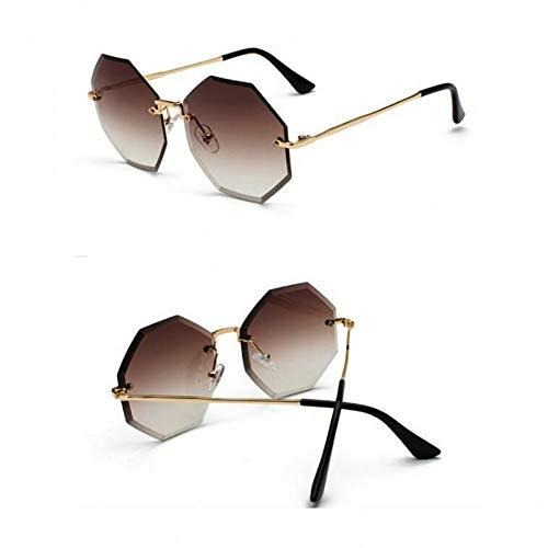 SYQA Sechseckige randlose Sonnenbrille Die Sonnenbrille der Frauen ist modern,C2
