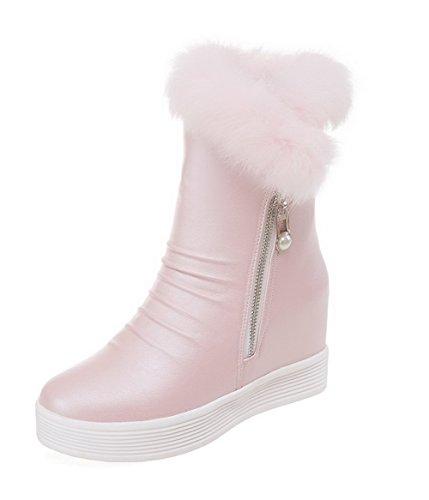 AllhqFashion Damen Rein PU Leder Hoher Absatz Rund Zehe Stiefel, Pink, 42 -