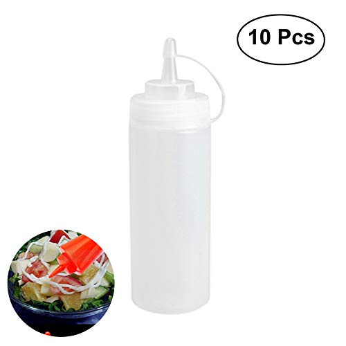 ounona 10Pakete von Kunststoff-Flaschen mit Kapseln, 16oz, die besten Vertreiber für das Restaurant Haus Ketchup, Senf, Mayo, Pflaster, Olivenöl, Sauce Grill (klar) (Die Squirt Besten)