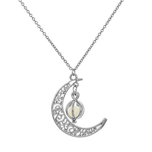Mypace Anhänger Gold Silber 925 Für Damen Glow In The Dark Leuchtende Halskette Mond & Kürbis Anhänger (Bule)
