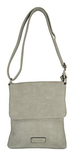CASAdiNOVA Umhängetasche Damen Klein Grau Überschlagtasche Schultertasche Leder-Optik Soft Material Tasche Leder Vegan