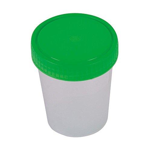 10 Urinprobebecher 125 ml mit grünem Schraubdeckel Urinbecher