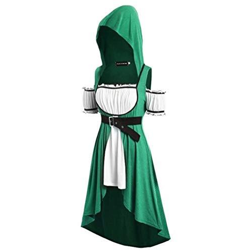 Queenromen Damen Kapuzen Dress Lace Up Belt Hooded High Low Cosplay Dress Cloak Costumes(M Grün)