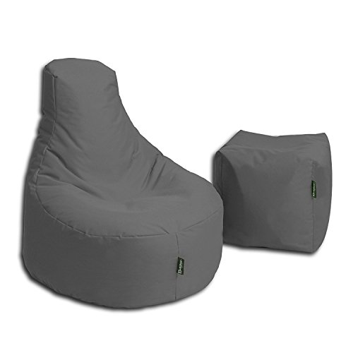 BuBiBag Sitzsack Stillkissen Set Kissen Lounge Gamer Sitzsack Sessel original Sitzkissen In & Outdoor geeignet fertig befüllt in 32 Farben (anthrazit)