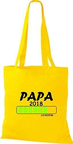 Shirtinstyle Borsa Di Stoffa Borsa Di Cotone Papa 2018 Caricamento Regalo Di Nascita Giallo
