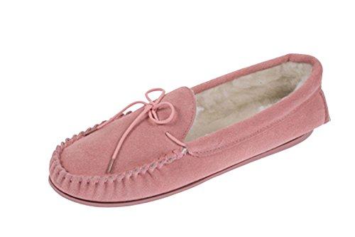 LODGEMOK daim pour femme Doublure en laine peluche traditionnel Chaussure Chaussons mocassins 075 Rose