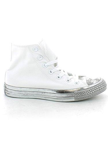 Converse Ctas Hi mixte adulte, toile, sneaker low White/Silver/Black