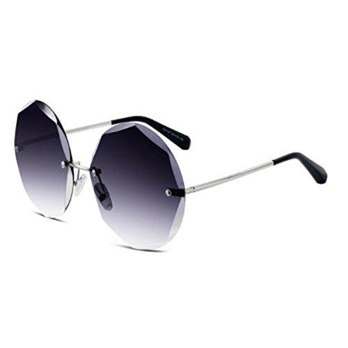 LQQAZY Rund Rahmenlos Sonnenbrille Frauen Gezeiten Persönlichkeit Sonnenbrille Brille,SilverLegsGray