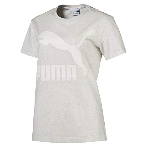 Puma Classics Damen Logo T-Shirt White Heather-B1004 S (Puma Gerippte Jersey)