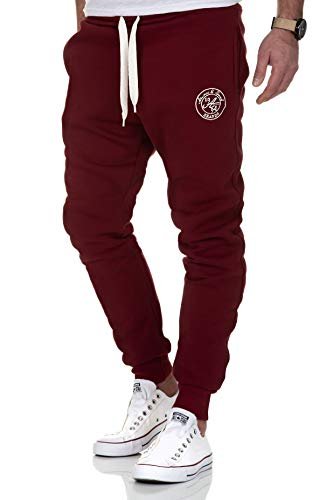 Amaci&Sons Herren Jogginghose Sporthose Sweatpants Jogger Trainingshose 20002 Bordeaux L