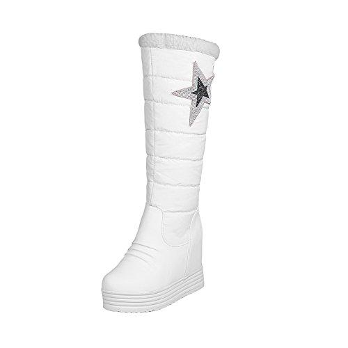 AllhqFashion Damen Pu Leder Niedrig-Spitze Rein Ziehen Auf Hoher Absatz Stiefel Weiß