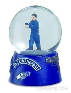 Alxshop - Figurine de dŽcoration en rŽsine + boule de neige : police nationale
