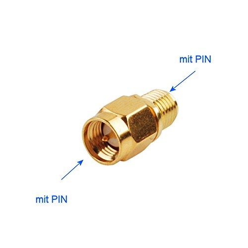 KRS - SMA-7 Adapter SMA-Anschluss mit Überwurfmutter / mit Innenleiterstift zu SMA-Anschluss mit Außengewinde / mit Innenleiterstift (SMA Stecker - RP SMA Buchse) (Smb-männlich)