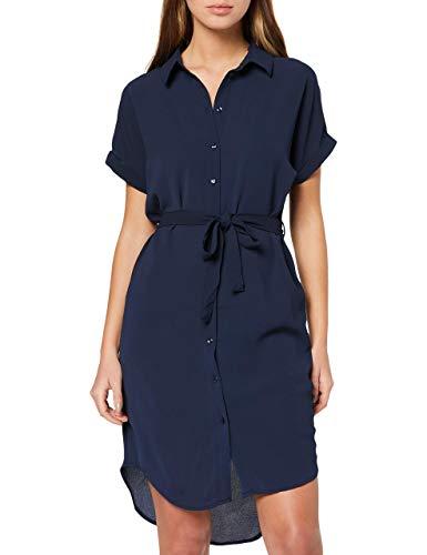 Vero Moda NOS Damen VMSASHA SHIRT SS DRESS COLOR Kleid Blau (Navy Blazer), 36 (Herstellergröße: S) - Ballerina Tote-kleid