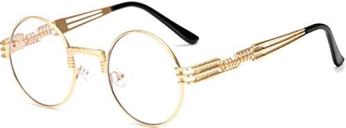 J&L GLASSES Retro Klassisches Sonnenbrillen Brille mit Fensterglas Damen Herren Brillenfassung UV-Schutz, Sonnenbrillen Unisex Modische Fahrer für Golf, Autofahren, Outdoor Sport, Steampunk (Golden)