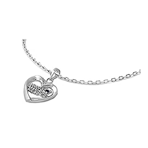 925 Sterling Silver Hug & Kisses Heart Shaped Necklace With