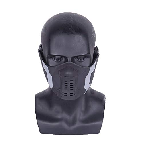 QWEASZER Marvel Avengers Captain America 2 Winter Soldat Bucky PVC Maske, Film Cosplay Halloween Kostüm Zubehör Deluxe Edition für Erwachsene Männer Kostüm,Bucky/A-OneSize