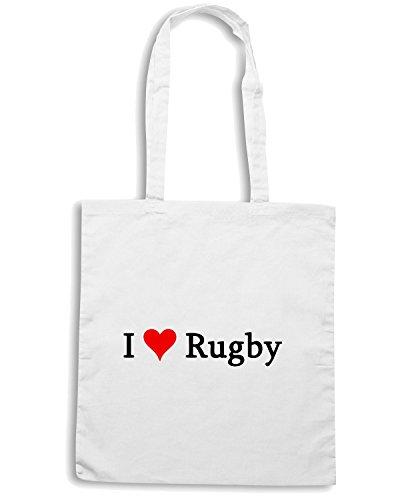 T-Shirtshock - Borsa Shopping TRUG0023 i love rugby3 logo Bianco