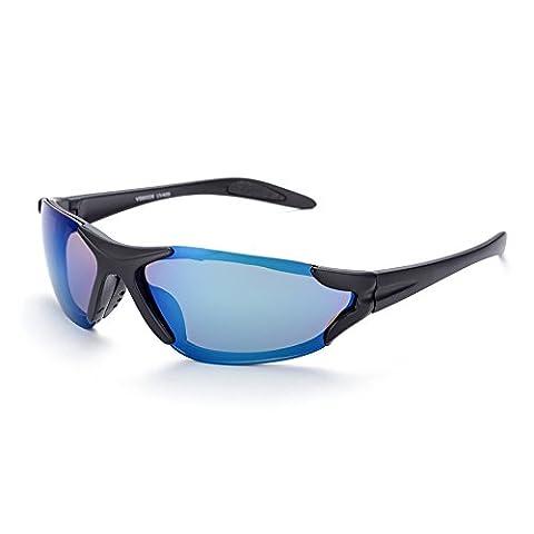 Hmilydyk Sports Lunettes de soleil rétro polarisées UV400lecture à double foyer objectif complet RIM extérieur Lunettes de lunettes pour homme, Black Frame Blue Lens