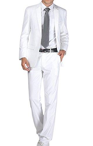 Herren Business Anzug 2-Knopf-Anzugjacke mit Anzughose Weiß