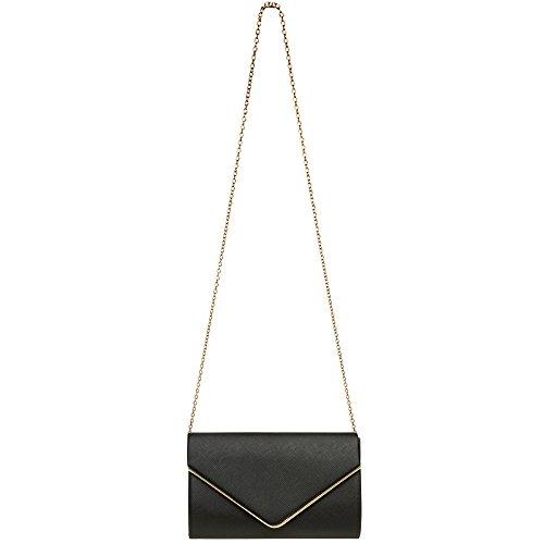 CASPAR TA372 Damen elegante Envelope Clutch Tasche / Abendtasche mit langer Kette Schwarz