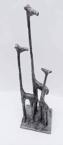 F&G Supplies Giraffen-Skulptur mit Giraffen-Familie Wird Ihr Herz wärmen, antikes Silber