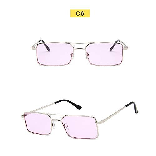 Wang-RX Quadratische Sonnenbrille Frauen Luxus Retro Klassische Metall Sonnenbrille Weibliche Brille Uv400 13colors