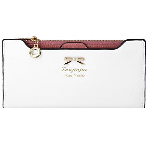 Preisvergleich Produktbild Sharplace Damen Bowknot Lange Geldbörse Reißverschluss Geldbeutel PU-Leder Geldbeutel Mappe - Weiß, 19.5cmX10.5cmX1.2cm